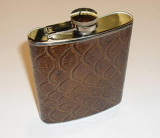 Hip Flask Polished Chrome with Faux Crocodile Skin 5oz