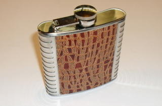 Hip Flask Polished Chrome with Light Tan Faux Crocodile Skin Centre Panel 6oz