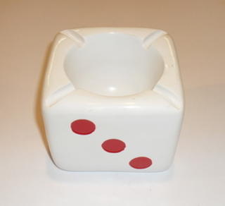 Cubic Ashtray Acrylic Dice Red Dots on White