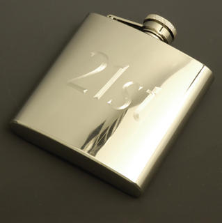 Hip Flask Polished Chrome Engraved '21st' Birthday 6oz
