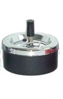 Spinning Ashtray Chrome (Small Round) Black Base - 11cm Diameter