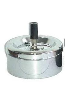 Spinning Ashtray Chrome (Small Round) Chrome Base - 11cm Diameter