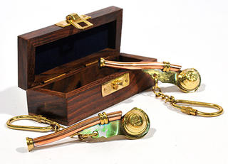 Brass Bosun's Whistle (Boxed)