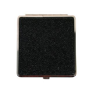 Cigarette Case Metal - Large Medium Size - Black Leatherette Sparkle Finish