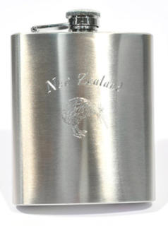 Hip Flask Polished Chrome Engraved 'New Zealand/Kiwi'