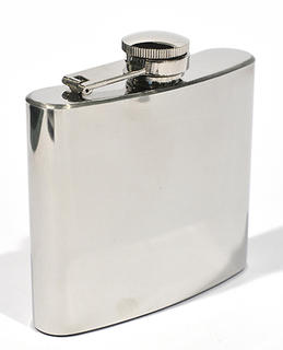 Hip Flask Polished Chrome 5 oz Square