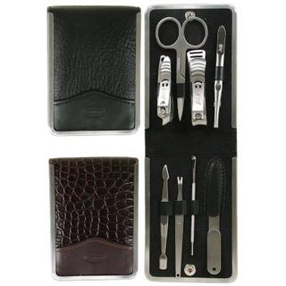 Comoy 8 Piece Button Manicure Set Black/Brown
