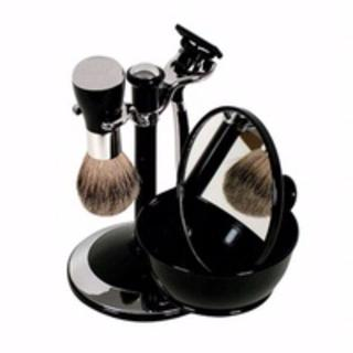 Comoy WG Shave Set Black/Chrome With Bowl And Mirror
