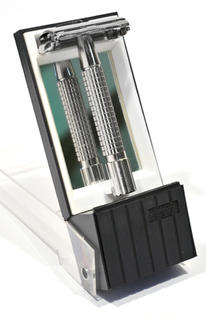 Comoy Safety Razor, Stand/Container with Mirror