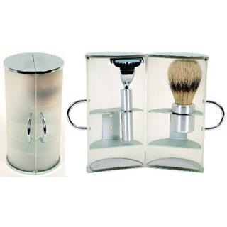 Comoy 3044 White Shave Brush & Razor Travel Set