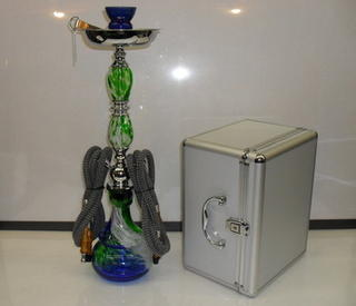 Shisha Pipe 2 Hose with Glass Stem and Aluminium Carry Case