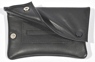 Tobacco Pouch Black Leather Double Black Stud Tapered