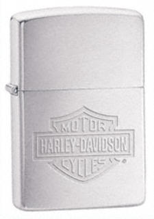 Zippo  Brushed Chrome Harley Davidson Logo Etched