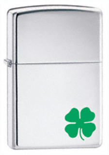 Zippo Chrome High Polish Lucky Shamrock