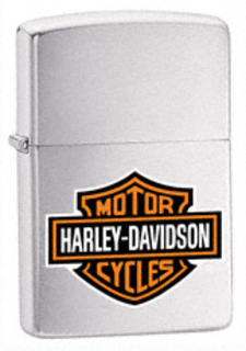 Zippo Brushed Chrome Harley Davidson Logo Colour
