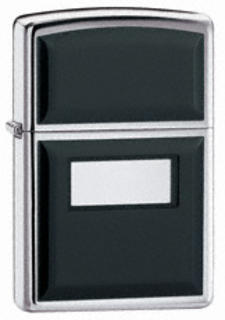 Zippo Ultralite Black High on Polish Chrome with Engraving Panel