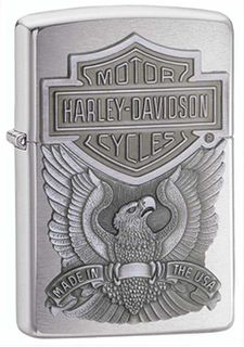 Zippo  Brushed Chrome Harley Davidson Embossed on Pewter Chip