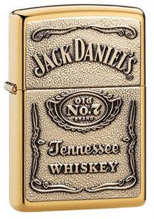 Zippo Brass High Polish Jack Daniels Label Embossed on Brass Chip