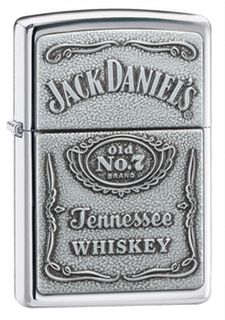 Zippo High Polish Chrome Jack Daniels Label Embossed on Pewter Chip