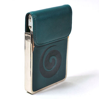 Card Holder Forest Green Leatherette Embossed Koru with Chrome Detail