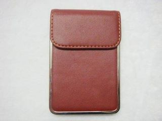 Card Holder Brown Leatherette Over Metal Frame with Card Lifting Flap