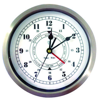Chrome Anodised Time and Tide Clock (200mm Diameter)