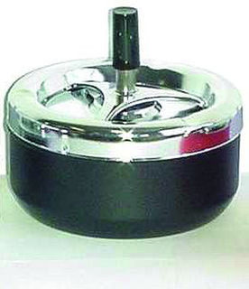 Spinning Ashtray Chrome (Medium Round) Black Base - 13cm Diameter