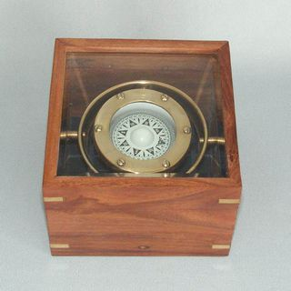Brass Gimballed Compass in a Box (110mm Square)