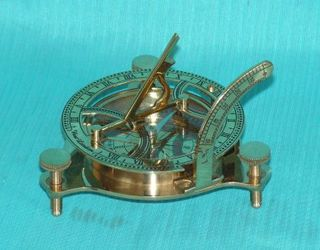 Brass Replica Compass and Sundial (110mm Diameter)