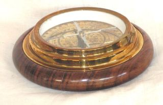 Brass Replica Compass in Wood Base (140mm Diameter)