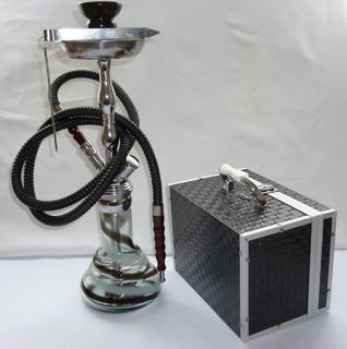 Shisha Pipe 1 Hose Glass and Metal Medium Black