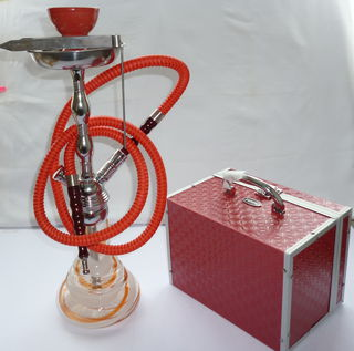 Shisha Pipe 1 Hose Glass and Metal Medium Red