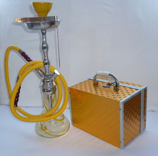 Shisha Pipe 1 Hose Glass and Metal Medium Yellow