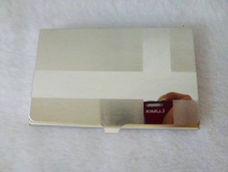 Card Holder Satin Chrome Metal with High Polish Cross