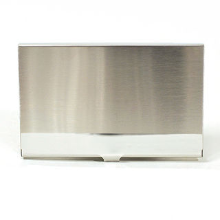 Card Holder High Polish Chrome Metal with Satin Banded Top Face