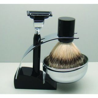 Comoy 3083 Badger Shave Set Black with Bowl