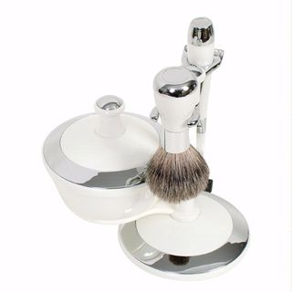 Comoy WG Shave Set White/Chrome with Bowl and Mirrored Lid