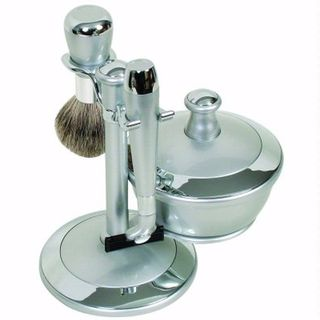 Comoy WG Shave Set Silver/Chrome with Bowl and Mirrored Lid
