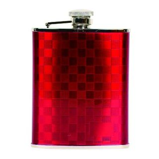 Hip Flask Coyote Polished Chrome Red Chequerboard 6oz