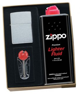 Zippo Brushed Chrome Gift Pack