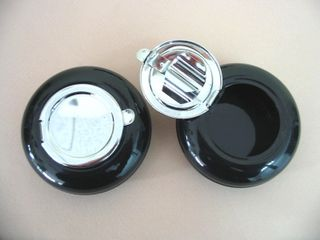 Ashtray Traveller Black  with Chrome Lid 60mm Diameter