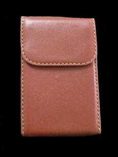 Card Holder Hidden Metal Frame Brown Leatherette