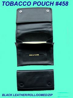 Tobacco Pouch Black Leather Domed Roll Type