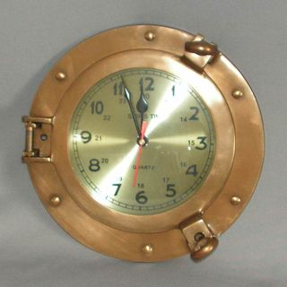Brass Porthole Clock (230mmm Diameter)