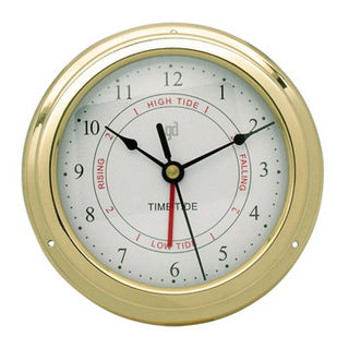 Brass Anodised Time and Tide Clock (150mm Diameter)