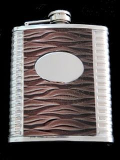 Hip Flask Chrome with Brown Ribbed Effect Vinyl Centre Panel 7oz