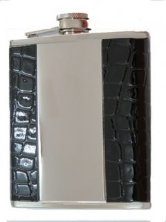 Hip Flask Polished Chrome with Brushed Chrome Centre Panel and Faux Black Crocodile Skin Outer Panels 7oz