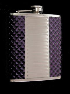 Hip Flask Chrome with High Polished Ridged Centre Panel and Purple Mottled Vinyl Edge Panels 7oz