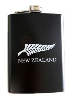 Hip Flask Stainless Steel N.Z. Fern Black Lacquer 8oz
