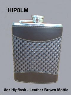Hip Flask Chrome with Brown Leatherette Panels and Textured Centre Panel 8oz